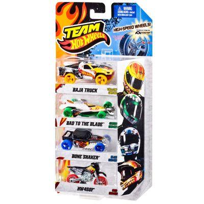 Carrinhos Team Hot Wheels - Pacote com 4 Carros - Mattel