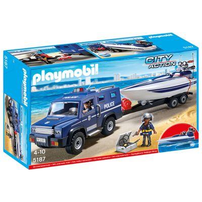 Playmobil-City-Action---Caminhao-de-Policia-com-Lancha---5187