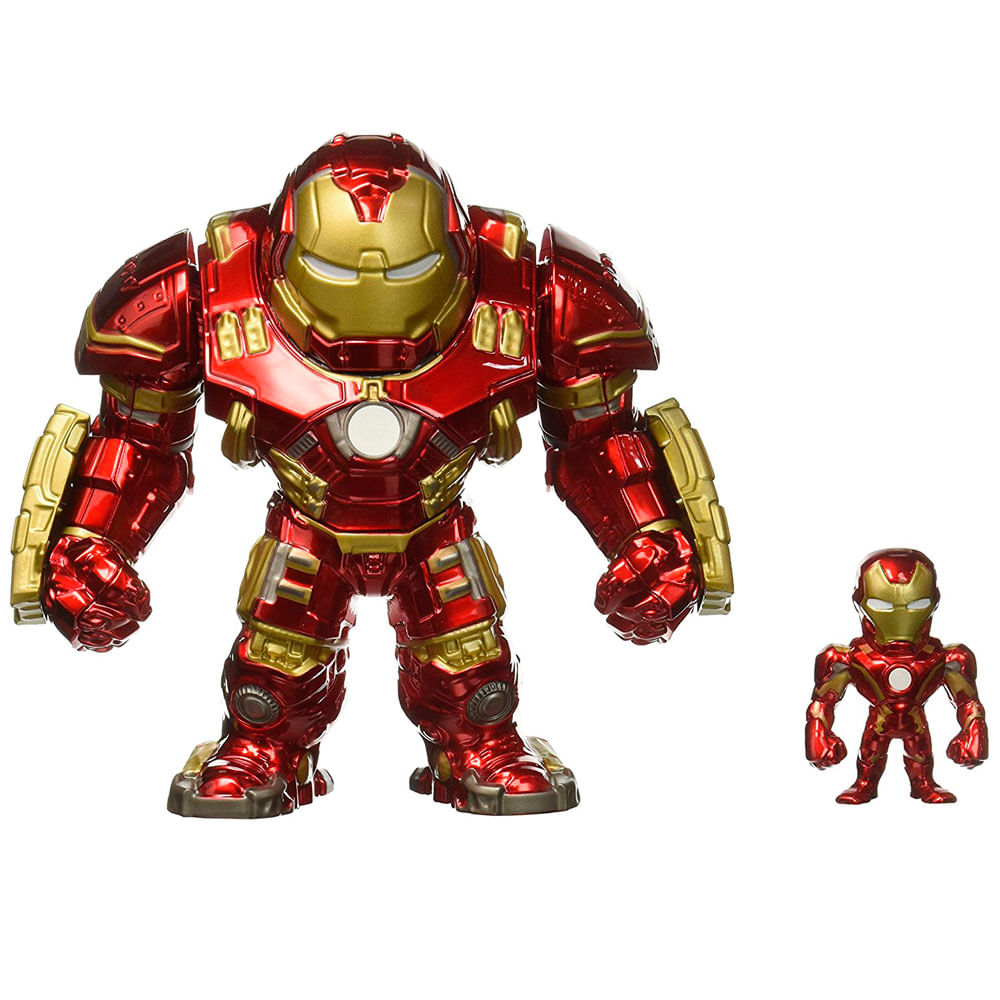 Figura Colecionável 17 Cm - Metals - Disney - Marvel - Age Of Ultron - Hulkbuster e Iron Man - DTC